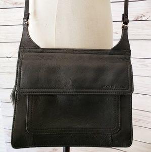 Fossil Black Leather Crossbody Bag Handbag Wallet